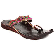 Womens Ethnic Slippers tj23 -Brown