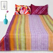 Storyathome  Cotton Multi King Size 1 Double Bedsheet With 2 Pillow Cover-TV1214