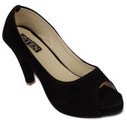 Ten Synthetic Heeled Slipons For Women_tenbl066 - Black
