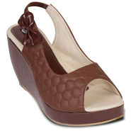 Ten Patent Leather Peep Toes  For Women_tenbl110 - Brown