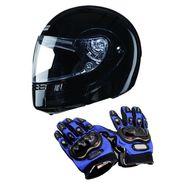 Studds Ninja 3G Eco Helmet With Gloves - Full Face Helmet Black XL