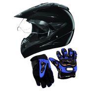 Studds Motocross Helmet with Gloves - Full Face Helmet Black L