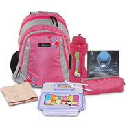 Trendy Back To School 19inch Bagpack Combo For Girls Pink & Grey - CB1401