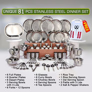 Unique 81 Pcs Stainless Steel Dinner Set + Free Knife Set + Chopping Board