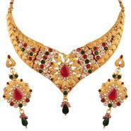 Variation Pink & Green Shiny Bridal Necklace Set_Vd13298
