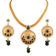 Variation Green Beads Gold Plated Pendant Set_Vd14166