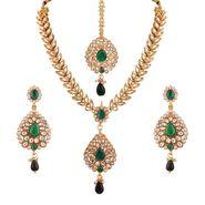 Variation Leaf Designer Kundan Wedding Necklace Set With Mangtika_Vd14201