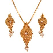 Variation Ethnic Gold Plated Pearl Pendant Set_Vd15252
