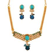 Variation Blue & White Beads Party Wear Necklace Set_Vd15378