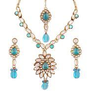 Variation Blue Kundan Fashion Jewellery Set With Mangtika_Vd15752