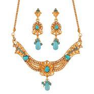 Variation Blue Gold Plated Necklace Set_Vd15851