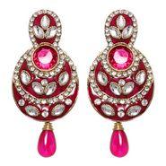 Vendee Fashion Pretty Traditional Earrings - Pink - 8389