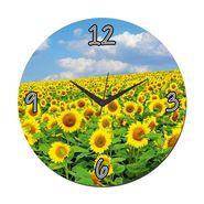 meSleep Yellow Flower Wall Clock With Glass Top-WCGL-01-06