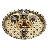 Oxidized Metal Pooja Thali with Ganesh & Floral Motifs-WHM15344