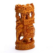 Hand Carved Wooden Ambabari Elephant-WUD15302