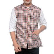 Sobre Estilo Sleeveless Nehru Jacket For Men_WV0013269 - Red & Black