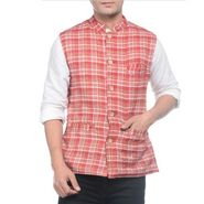 Sobre Estilo Sleeveless Nehru Jacket For Men_WV0013274 - Red & Black