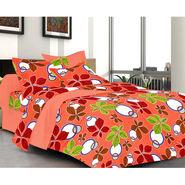 Valtellina Orange Color Florish Design  Double bedsheet With 2 Pillow cover