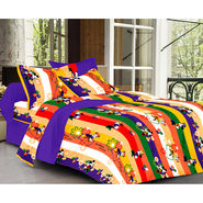Valtellina Cartoon   With Stripes Design  Purple Color Double bedsheet With 2 Pillow cover