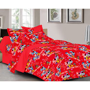Valtellina Cartoon Design Red Color Double bedsheet With 2 Pillow cover