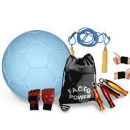 White (1551) Authentic Football Size 5 with Skipping Rope, Gripper, Wrist Band, Gloves, Gym Bag