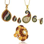 Spargz 2 Beautiful Enamel Pendant Set With Studded Finger Ring_Cb392