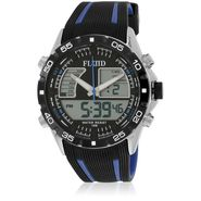 Fluid Analog & Digital Round Dial Watch For Unisex_d05bl01 - Black & Blue