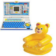 Combo of Kids 20 Activity Laptop For Creative Learning + Kids Inflatable Teddy Chair