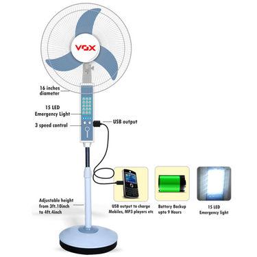 VOX Multipurpose Rechargeable Pedestal Fan with USB, Emergency Light & 3800mAh Power Bank