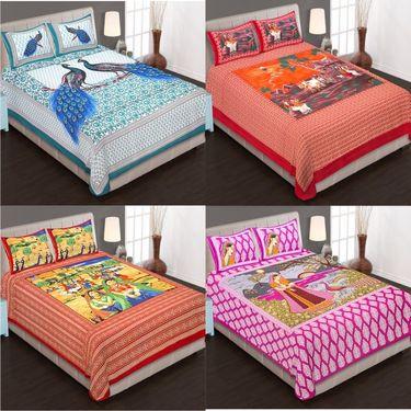 Set of 4 King Size Cotton Jaipuri Sanganeri Printed Bedsheets With 8 Pillow Covers-B4C4