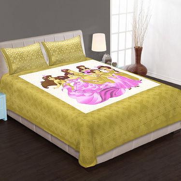Set of 4 Cotton King Size Jaipuri Sanganeri Printed Bedsheets With 8 Pillow Covers-100x100B4C2