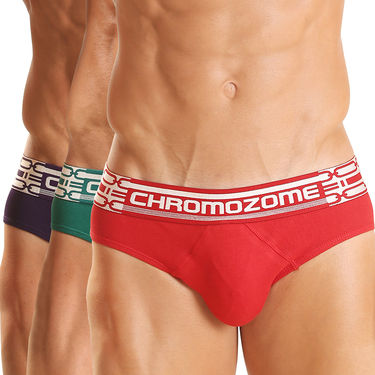 Pack of 3 Chromozome Regular Fit Briefs For Men_10100 - Multicolor
