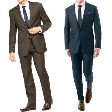 Pack of 2 Vimal Suit Length (Coat + Trouser) For Men - Blue & Brown