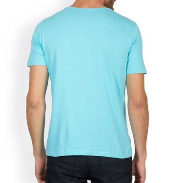 Incynk Half Sleeves Printed Cotton Tshirt For Men_Mht207aq - Aqua