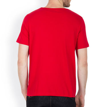 Incynk Half Sleeves Printed Cotton Tshirt For Men_Mht207r - Red