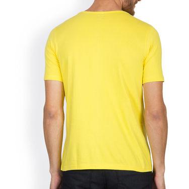 Incynk Half Sleeves Printed Cotton Tshirt For Men_Mht207yl - Yellow
