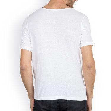 Incynk Half Sleeves Printed Cotton Tshirt For Men_Mht208wht - White