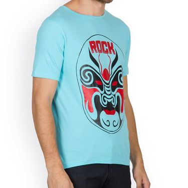 Incynk Half Sleeves Printed Cotton Tshirt For Men_Mht214aq - Aqua
