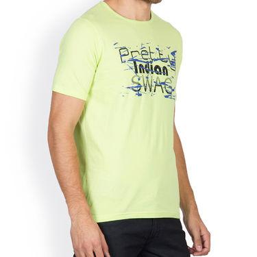 Incynk Half Sleeves Printed Cotton Tshirt For Men_Mht216p - Pista