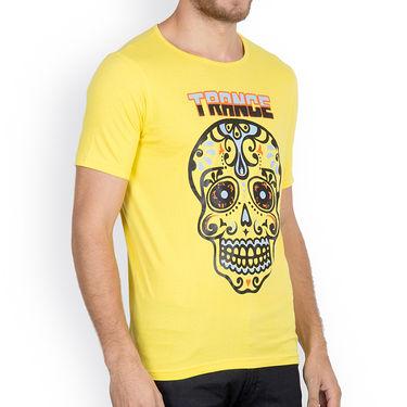 Incynk Half Sleeves Printed Cotton Tshirt For Men_Mht217yl - Yellow