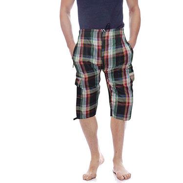 Delhi Seven Cotton Checks Capri For Men_D7Cg02 - Multicolor