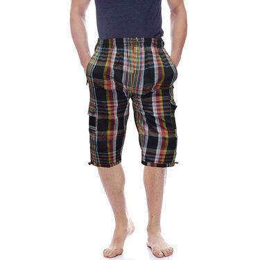 Delhi Seven Cotton Checks Capri For Men_D7Cg04 - Multicolor