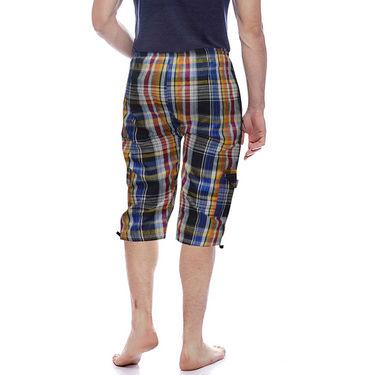 Delhi Seven Cotton Checks Capri For Men_D7Cg07 - Multicolor
