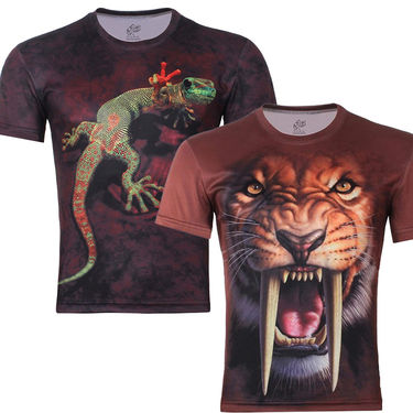 Pack of 2 Printed 3D Tshirts For Men_LT1