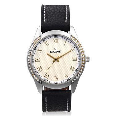 Dezine Round Dial Leather Wrist Watch For Men_057whtblk - White