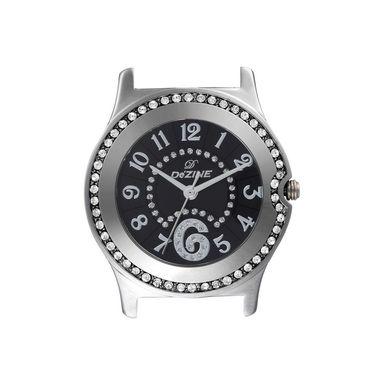 Dezine Round Dial Leather Wrist Watch For Women_2000blkblk - Black
