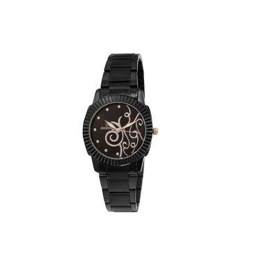 Dezine Round Dial Metal Wrist Watch For Women_0400blkbch - Black