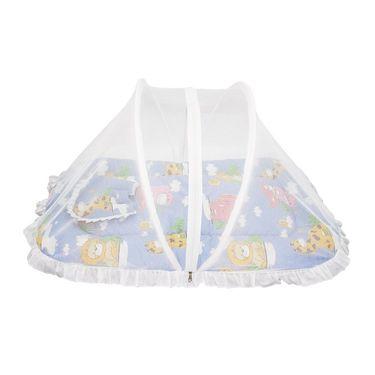 Wonderkids Blue Animal Print Baby Bedding Set With Mosquito Net_MW-182-BABMS