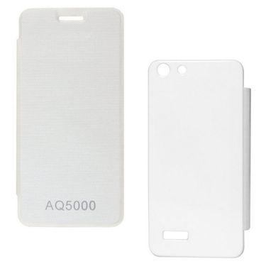 Flashmob Premium Satin Finish Flip Cover For Micromax AQ5000 - White