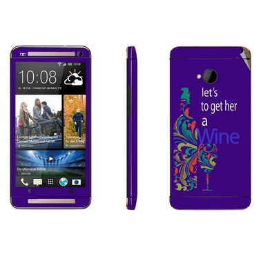 Snooky 28273 Digital Print Mobile Skin Sticker For HTC One M7 - Purple